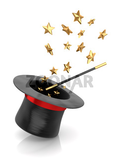 Magician Hat and Wand with Star