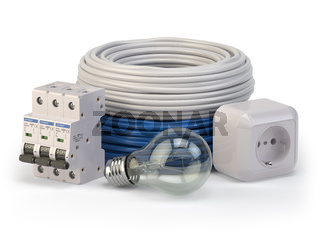 Electric cable, laight bulb, circuit breaker and socket isolated on white background. Electric components and instruments.