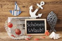 Chalkboard With Summer Decoration, Schoenen Urlaub Means Happy Holidays
