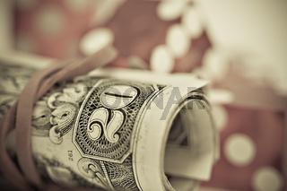 Dollar Bündel und Würfel