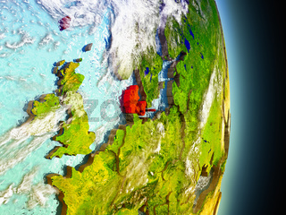 Denmark in red from space