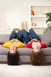 Teen girls upside down