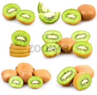 Set of Fresh Kiwi Fruits Isolated