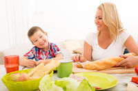 Mother and Son having breakfast at home