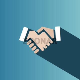 Handshake icon with shadow on a blue background