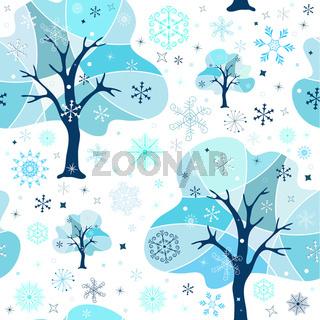 Seamless white-blue winter pattern