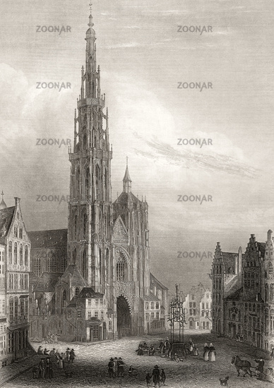Cathédrale Notre-Dame, Cathedral of Our Lady, Antwerp,  Flanders, Belgium, 19th century