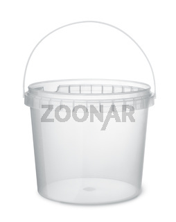 Clear plastic food bucket