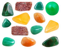 various aventurine gemstones isolated on white