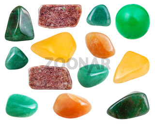 various aventurine gemstones isolated on white