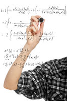 hand of a student girl drawing a mathematical formula