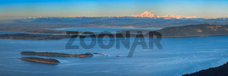 Aerial view from the San Juan Islands with Mount Baker on the ho