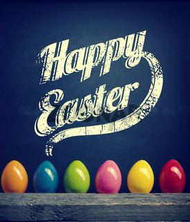 Colorful plastic Easter eggs, Happy Easter