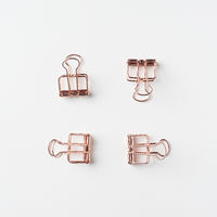 Top view of empty copper clip on white background desk for mockup