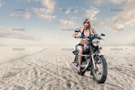 woman on motorcycle