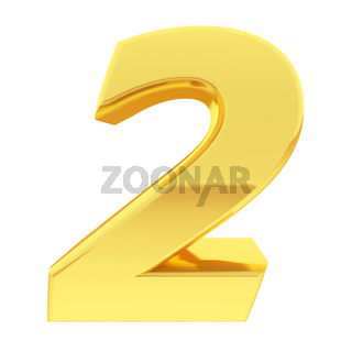 Gold number 2 with gradient reflections isolated on white. High resolution 3D image