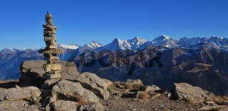 Cairn on top of mount Niesen