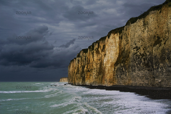 chalk cliffs at thunderstorm, Normandy, France