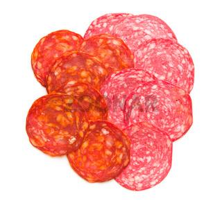 Slices of chorizo salami sausage.