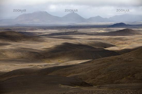 light and shadow in mountainous wasteland, Moedrudalsfjallgardur, highland, Iceland, Europe