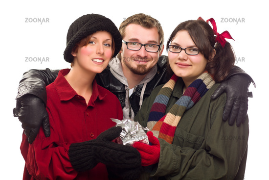 Three Friends Holding A Holiday Gift Isolated