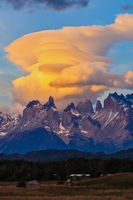 Fantastic sunset in the park Torres del Paine, Chile