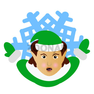 the elf Santa Claus the brunette in the form of a snowflake an icon. to part hands aside. on  white background. for the press, undershirts, t-shirts, fabric, cards, design. vector illustration