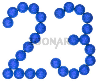 Numeral 23, twenty three, from decorative balls, isolated on white background