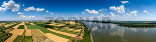 Aerial panorama of fields and Danube