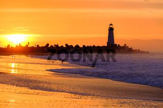 Santa Cruz Breakwater Light (Walton Lighthouse) at sunrise