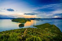 Beautiful sunset at isla amantani island on the Titicaca lake, Peru, South America