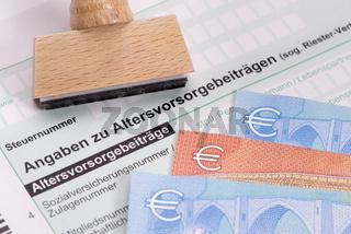 Altersvorsorge und Steuererklärung für Finanzamt