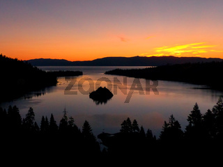 Sunrise over Emerald Bay at Lake Tahoe, California, USA.