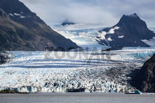 View of Grewingk Glacier and lake, Kenai Peninsula, Alaska