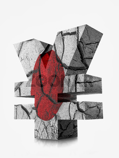 3D rendering of Japanese Yen currency symbol wrapped around with Japanese flag and cracked earth effect over white background