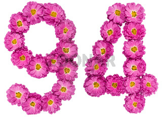 Arabic numeral 94, ninety four, from flowers of chrysanthemum, isolated on white background