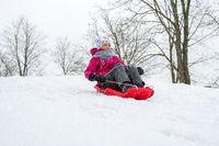 Girl sledging downhill an having fun