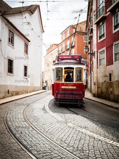 Lisbon Tram In Alfama Area Portugal