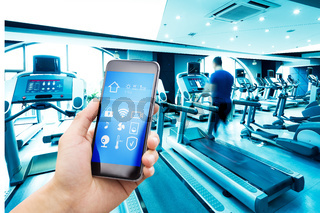 smart phone with smart home with modern gym