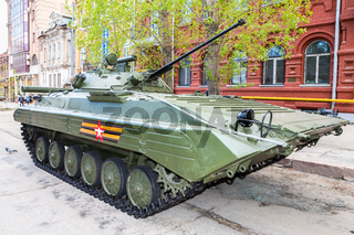 Russian infantry fighting vehicle BMP-2 during the military parade at the city street in Samara, Russia