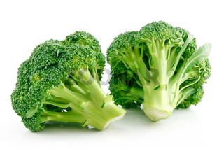 Ripe Broccoli Cabbage Isolated on White