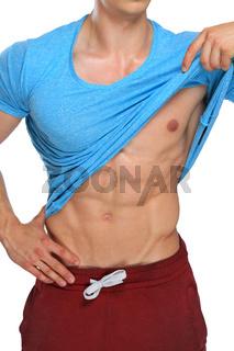 Bodybuilder Bodybuilding Muskeln Bauchmuskeln Sixpack posen Mann Hochformat