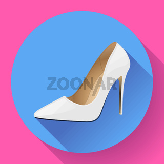 Fashionable woman shoes vector Icon. High heels. Flat design style