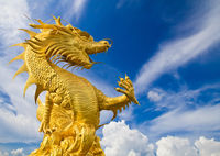 Golden dragon statue on blue sky