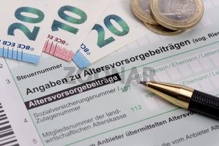 Steuererklärung für Finanzamt mit Altersvorsorge