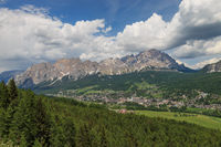 Panoramic view of Cortina d'Ampezzo in the Dolomites