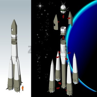 Detailed space rocket with first spaces