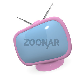 Pink retro styled television, 3d rendering