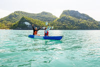 Travel by boat with a kayak