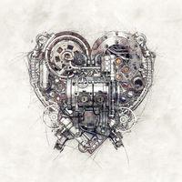 Sketch of a technical-mechanical heart